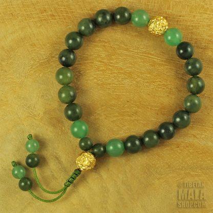 green gold wrist mala