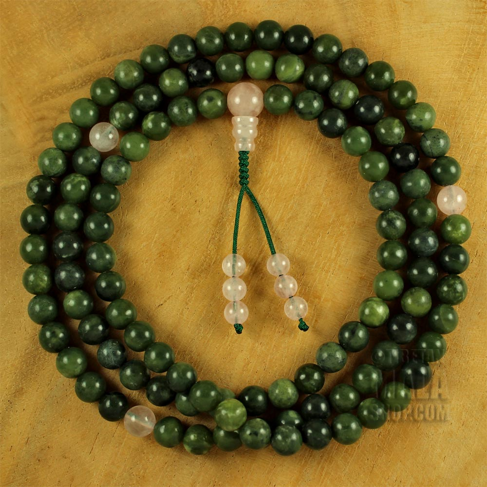 Rainflower Jade Mala Necklace Hand Knotted 108 Beads 8mm