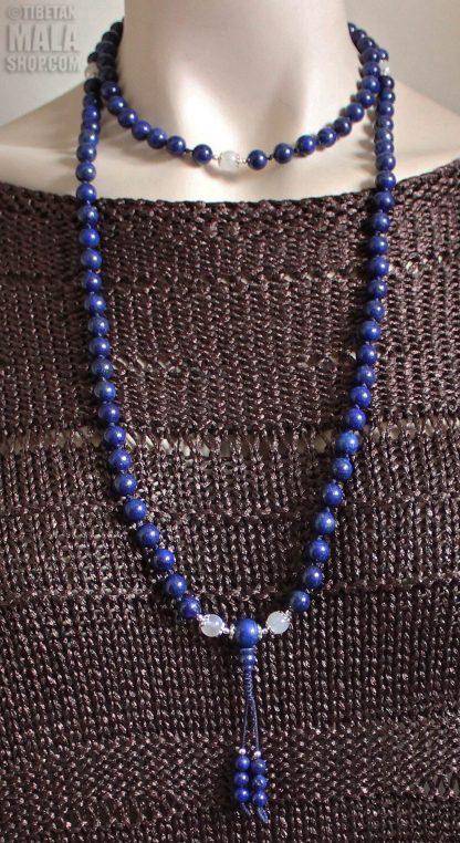 lapis lazuli knotted mala length