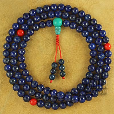 lapis lazuli mala with coral