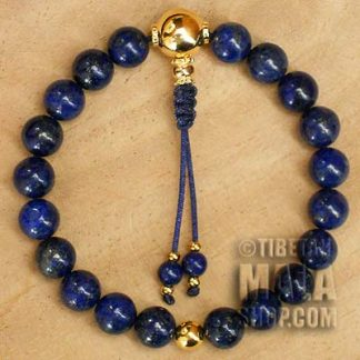 lapis lazuli wrist mala beads with gold