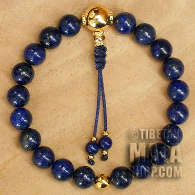 lapis lazuli wrist mala beads with gold