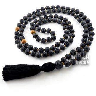 lava rock knotted mala beads