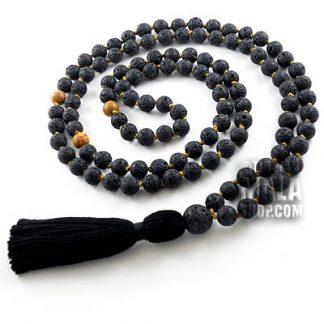 lava rock knotted mala beads