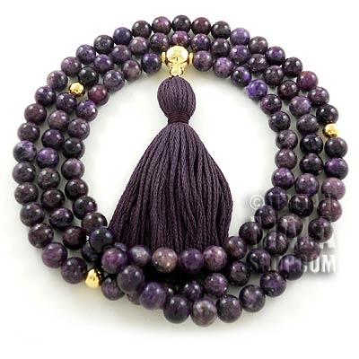 lepidolite buddhist mala beads
