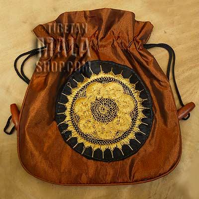 mala beads bag bronze wheel