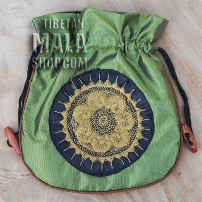 mala beads bag green wheel