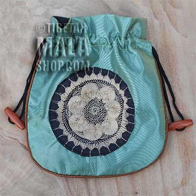mala beads bag light green wheel