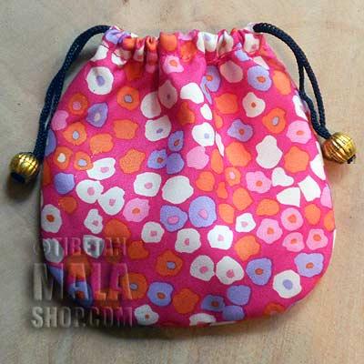 mala beads bag pink floral