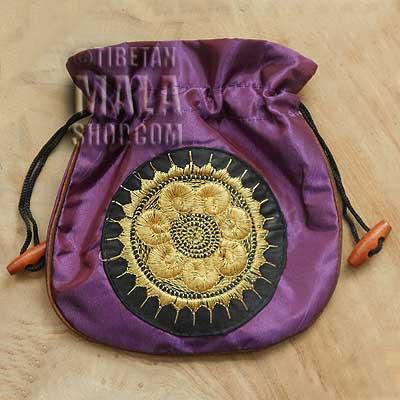 mala beads bag purple wheel