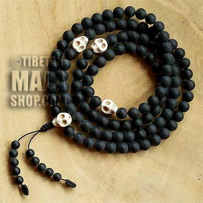 white skull mala beads