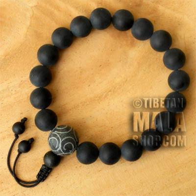 carved guru wrist mala beads