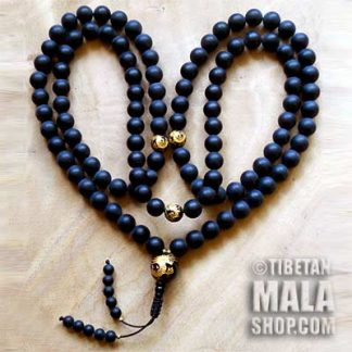matte onyx gold dragon mala beads