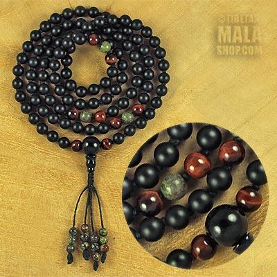 matte onyx knotted mala beads