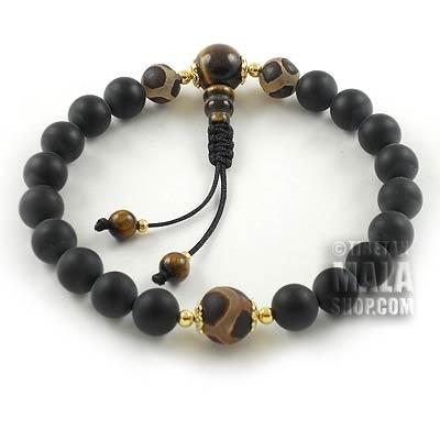 matte onyx wrist mala beads with dzi