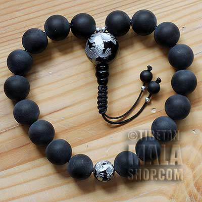 matte onyx with silver dragon wrist mala