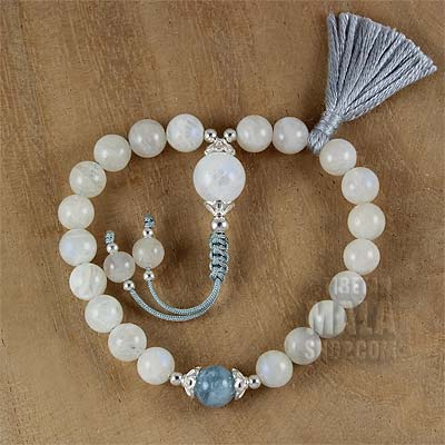 moonstone buddhist wrist mala beads