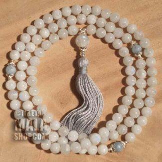 moonstone Buddhist mala beads