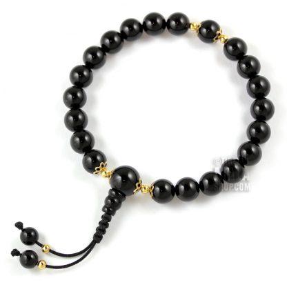 onyx mala bracelet gold