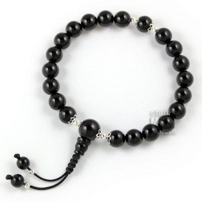 onyx mala bracelet silver