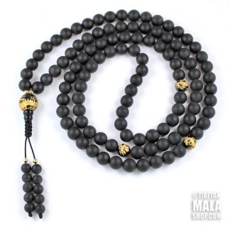 matte onyx mala gold dragon