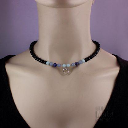 onyx open heart choker necklace
