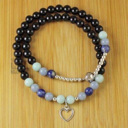 onyx open heart wrap bracelet
