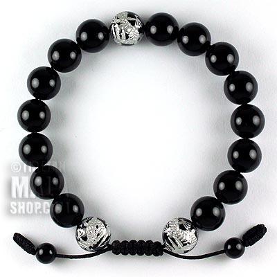 onyx silver dragon bracelet