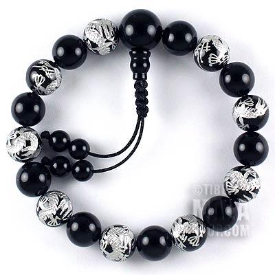 onyx silver dragon mala bracelet