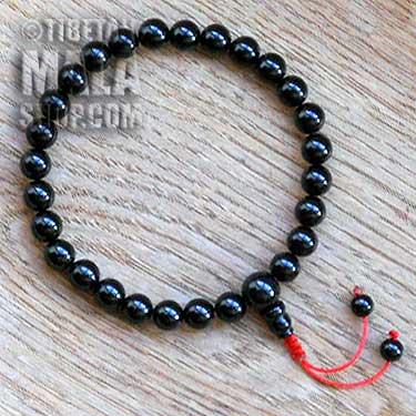 onyx wrist mala beads