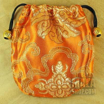 orange gold lotus mandala mala bag