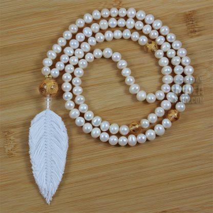 pearl feather mala