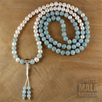 pearl mala with aquamarine
