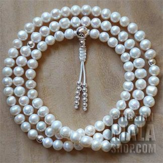 pearl with silver mala beads