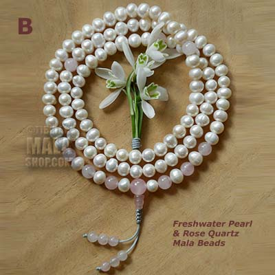 pearl rose quartz mala beads
