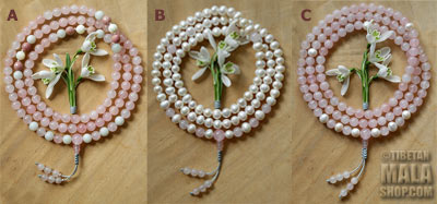 pearl rose quartz meditation beads
