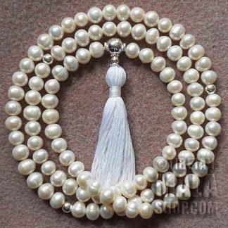 pearl buddhist mala beads