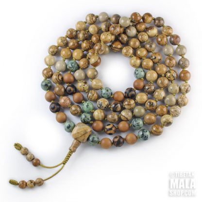 picture jasper hand knotted mala