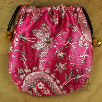 pink silver brocade gift bag