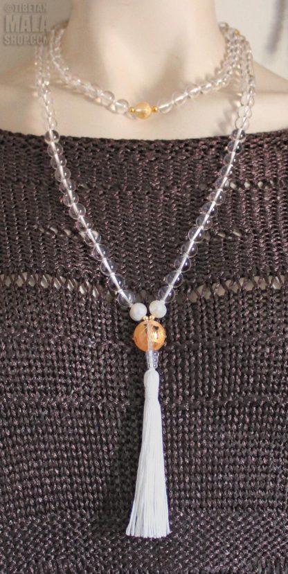 quartz mala knotted length