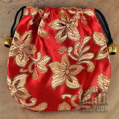 red brocade gift bag