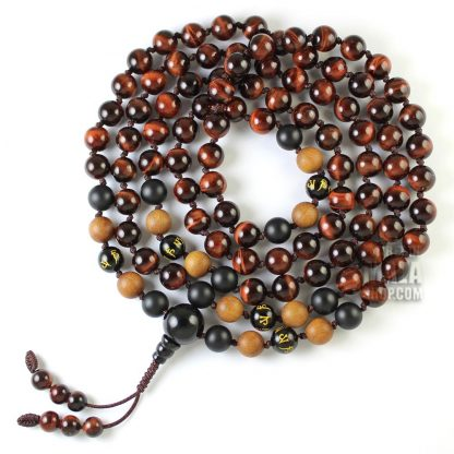 red tigers eye knotted mala beads