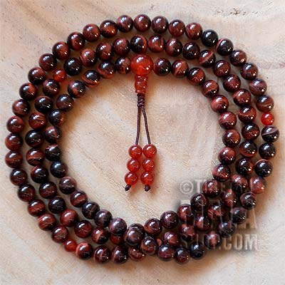 red tigers eye mala beads
