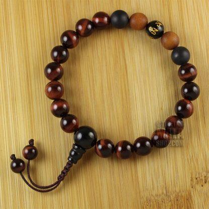 red tigers eye mantra wrist mala
