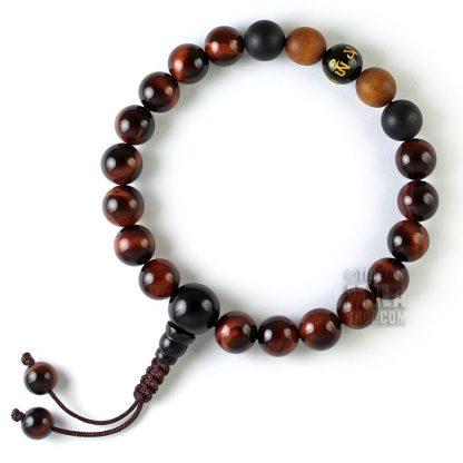 red tigers eye mantra wrist mala beads