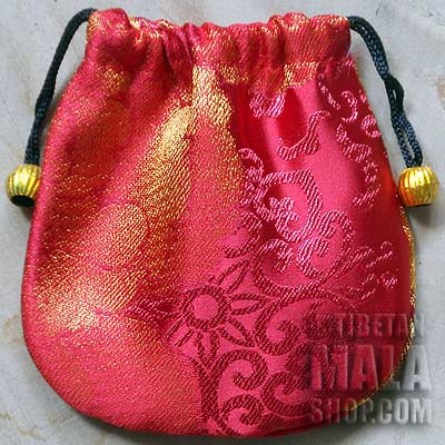 red with gold flowers mala bag