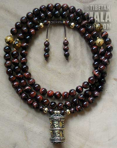 red tigers eye yoga mala beads