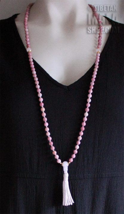 rhodonite hand knotted mala