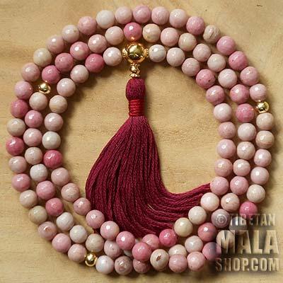 rhodonite buddhist mala beads