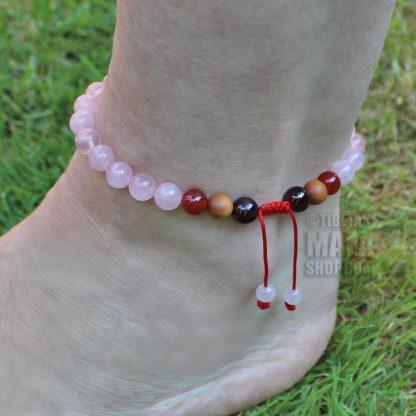 rose quartz anklet